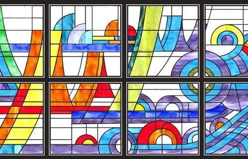 Kính màu ghép tòa nhà trung tâm triển lãm thành phố Hải Phòng