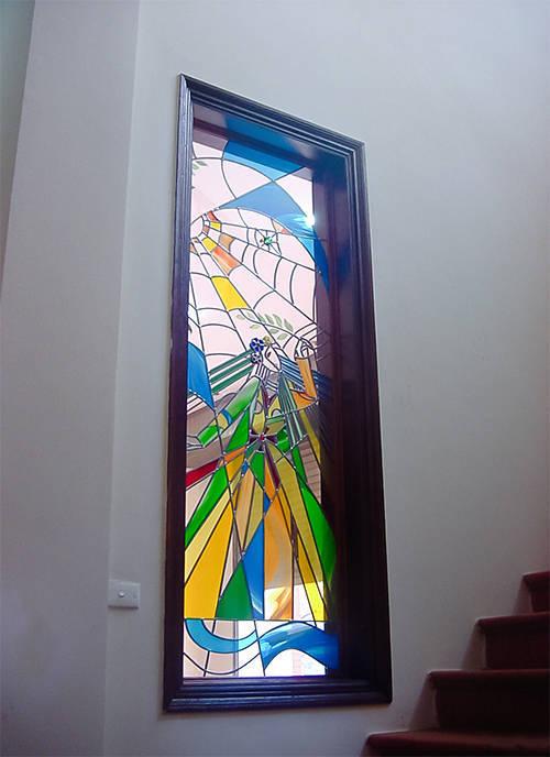 Tranh kính trang trí sảnh công trình nhà hát Chèo Hà Nội