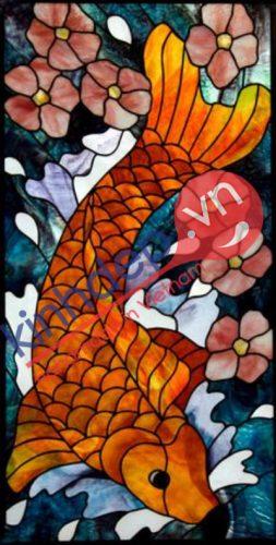 Mẫu tranh kính cá chép mang tài lộc thịnh vượng