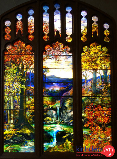 Thiết kế cửa kính nghệ thuật - Autumn Landscape