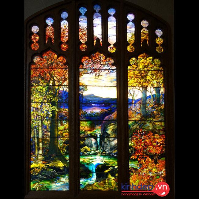 Mẫu cửa kính nghệ thuật – Autumn Landscape