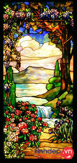 Mẫu cửa kính nghệ thuật - Landscape with waterfall (Phong cảnh thác nước)