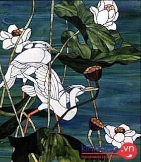 Mẫu tranh kính chim Hạc biểu tượng cho sự may mắn, trường thọ