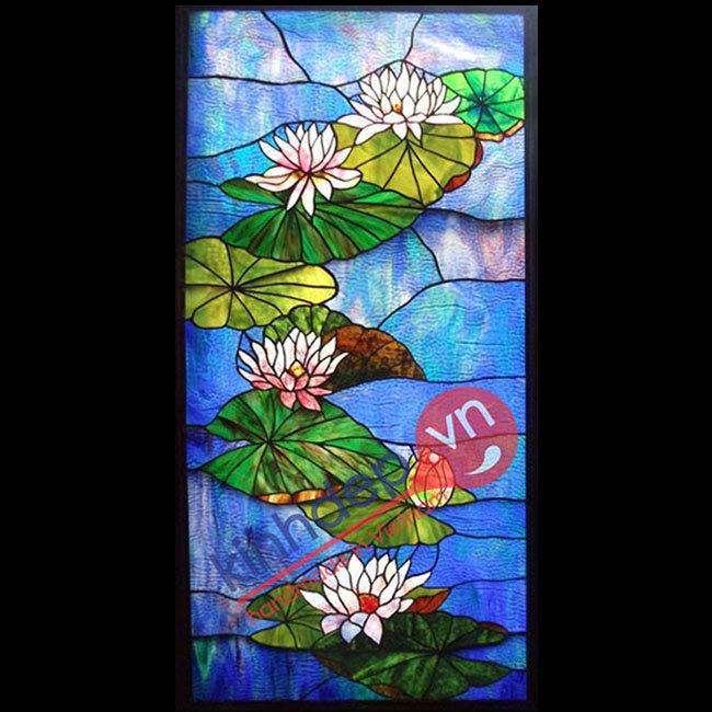 Mẫu tranh kính hoa sen – D09
