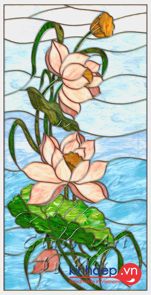 Mẫu tranh kính hoa sen - Tranh kính decor D10
