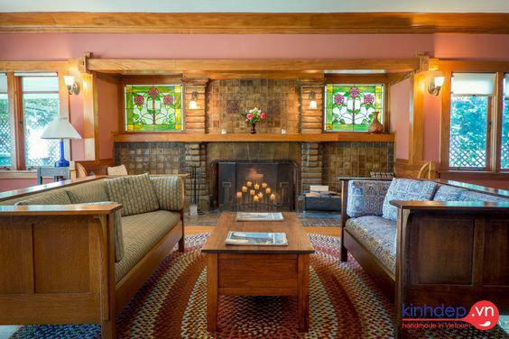 Không gian nội thất kết hợp với tranh kính màu ghép