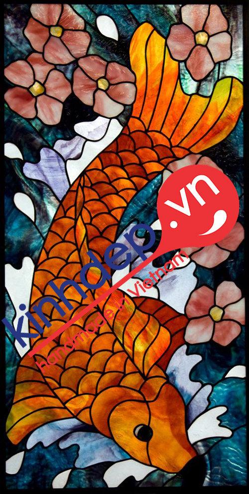 Mẫu tranh kính decor - Tranh kính Cá Chép