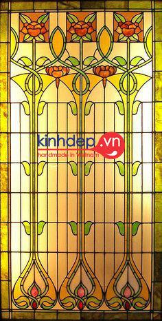 Mẫu cửa kính nghệ thuật đep - Mẫu thiết kế họa tiết hoa văn đối xứng