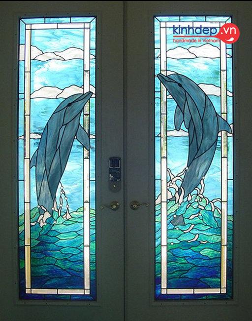 Cửa kính màu nghệ thuật V44 - Thiết kế cửa kính màu trang trí