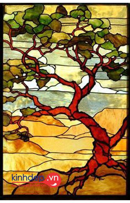 Mẫu cửa kính nghệ thuật - Tranh kính phong cảnh