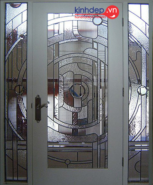 Cửa kính màu nghệ thuật V40 - Thiết kế nhẹ nhàng, đường vân độc đáo