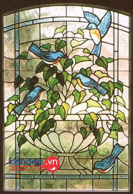Mẫu ô cửa kính nghệ thuật V38 - Thiên nhiên tươi đẹp