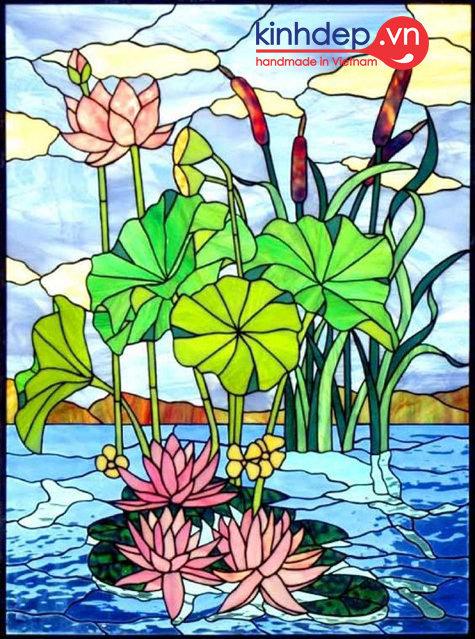 Mẫu tranh kính hoa sen - Tranh kính màu nghệ thuật
