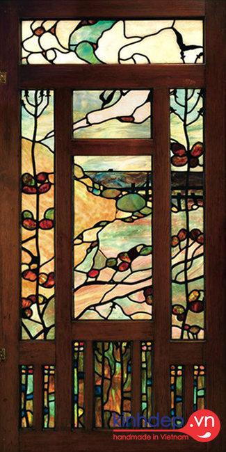 Mẫu cửa kính nghệ thuật V52 - Thiết kế cửa kính màu trang trí độc đáo