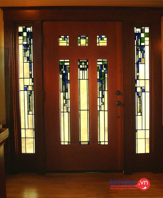 Mẫu cửa kính nghệ thuật V54 - Mẫu thiết kế cửa kính màu sang trọng