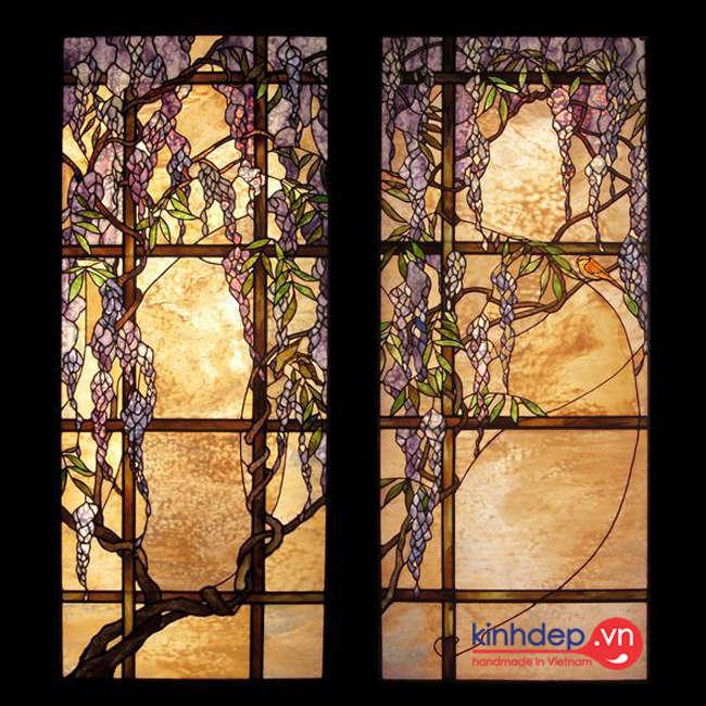 Mẫu cửa kính màu nghệ thuật chủ đề phong cảnh thiên nhiên