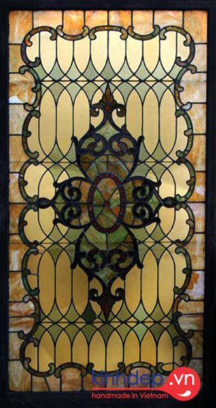Mẫu thiết kế vách ngăn kính màu Tiffany nghệ thuật