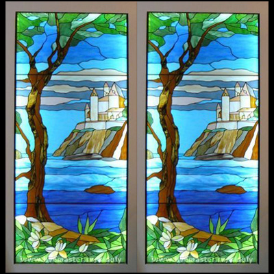 Cửa kính màu phong cảnh NT08
