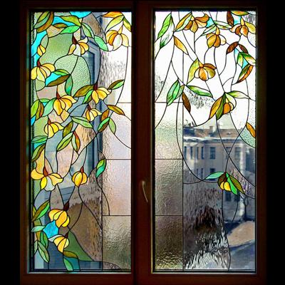 Mẫu cửa kính họa tiết hoa lá NT20
