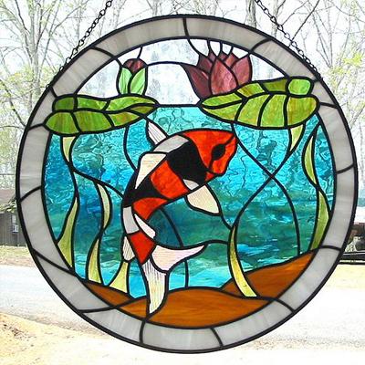 Mẫu tranh kính decor cá koi phong thủy D44