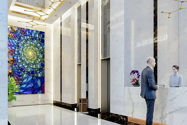 Tranh kính nghệ thuật tòa nhà Tràng An Complex quận Cầu Giấy