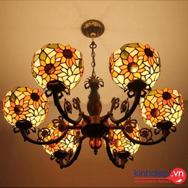 Mẫu đèn chùm Tiffany hoa Hướng Dương – CL01KD