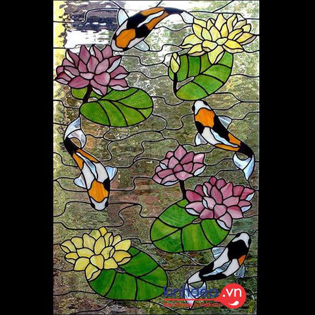 Mẫu tranh kính hoa sen cá chép - D08