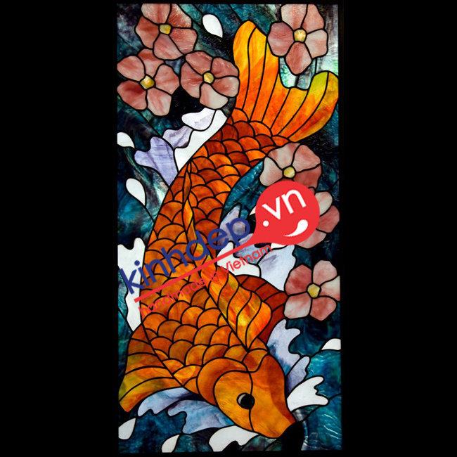 Mẫu tranh kính décor D07 – Mẫu tranh kính cá chép