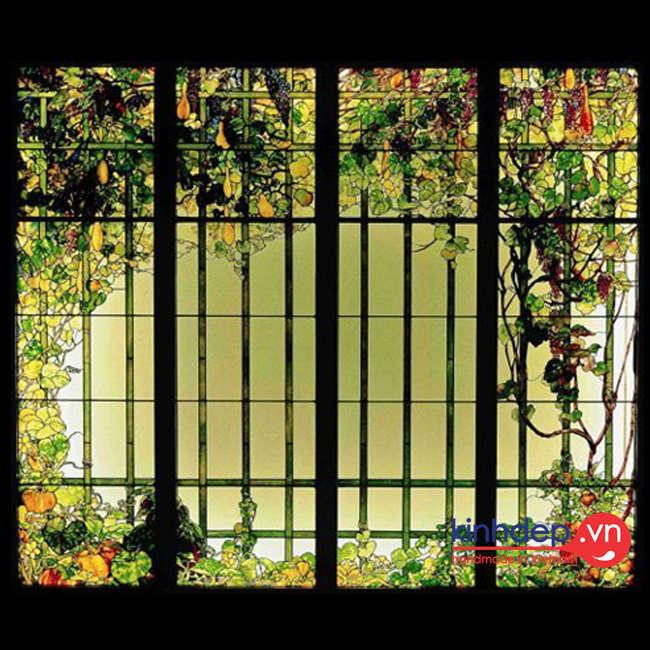 Mẫu cửa kính màu nghệ thuật – V56