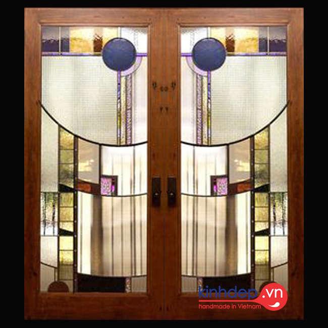 Mẫu cửa kính màu nghệ thuật – V57
