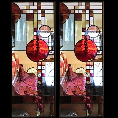Mẫu cửa kính nghệ thuật – V77