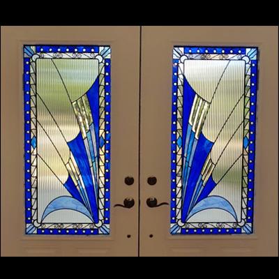 Thiết kế cửa kính màu xanh dương sang trọng V91
