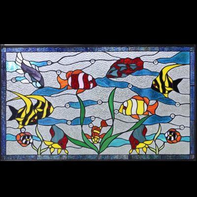 Thiết kế tranh kính màu decor thế giới đại dương D21