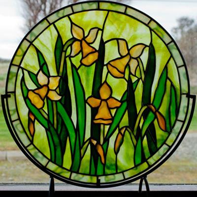 Mẫu tranh kính decor hoa huệ vàng D30
