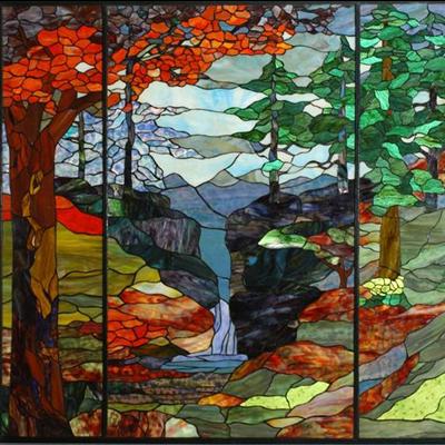 Thiết kế mẫu tranh kính phong cảnh decor D26
