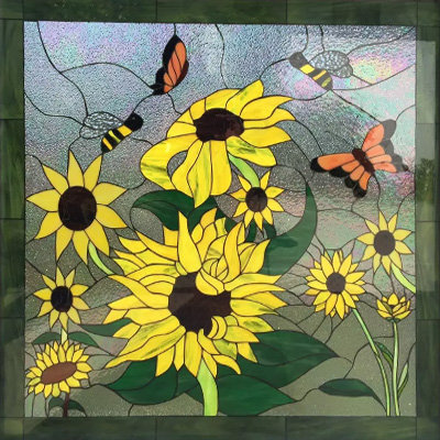 Mẫu tranh kính decor hoa hướng dương D33