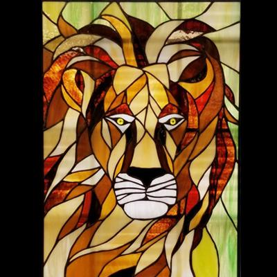Mẫu tranh kính decor sư tử D34