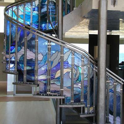 Mẫu tranh kính decor cho cầu thang D38