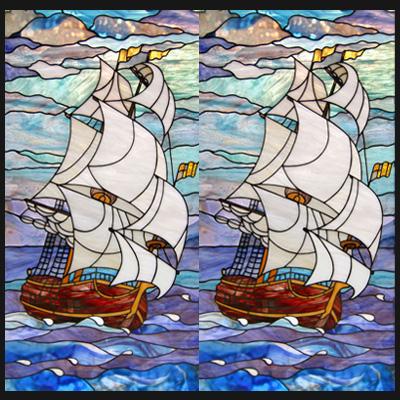 Mẫu tranh kính decor thuyền và biển D41